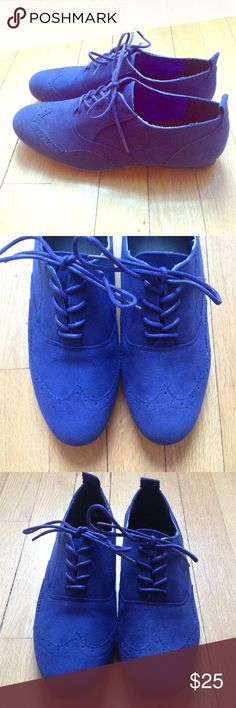 NWOT Blue Suede Shoes!💙 Royal Blue Oxfords Brand new royal blue suede oxfords, originally bought in Germany but never worn! Size EU 39 or US 8/9. Lined with royal blue satin material. Shoes Flats & Loafers