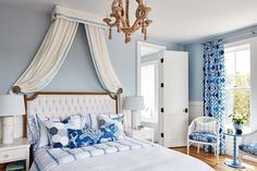 Exquisite white and blue French bedroom