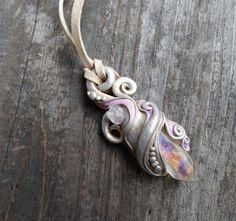 Angel Opal Aura Quartz Crystal Pendant Mermaid Fairy Jewelry Handmade Clay Gemstone Necklace