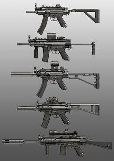 Various weapon illustrations and concepts. Steampunk Weapons, Sci Fi Weapons, Weapon Concept Art, Weapons Guns, Guns And Ammo, Light Machine Gun, Military Weapons, Military Brat, Future Weapons