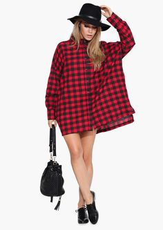 Plaid Shirt Dress in Red   Necessary Clothing