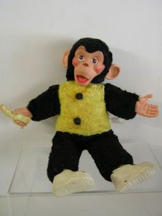 "Vintage 16"" 1960's Rubber Face Monkey Banana Zip Zippy ...by Columbia Products I USE TO HAVE A MONKEY EXACTLY LIKE THIS ONE:-)"