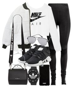 """""""Untitled #21218"""" by florencia95 ❤ liked on Polyvore featuring NIKE, Givenchy, adidas Originals, Quay, adidas and Chupi"""