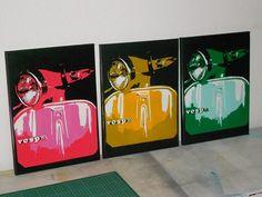 Vespa painting,scooter pop art style,stencil art,spray paints on canvas,red,green,yellow,Italian,urban,traffic lights,europe,motorbike,wall