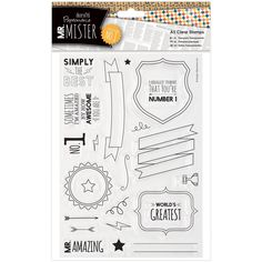 docrafts Papermania Mr. Mister A5 Clear Stamps-Text