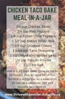 This rice dish is great served in a taco, on a salad, or as a stand alone. Serve with sour cream, refried beans or any of your favourite taco toppings. Excellent gluten free and dairy free option for meal in a jar recipes. Meals In A Jar, One Pot Meals, What Is Thrive, Baked Chicken Tacos, Chicken Slices, Thrive Life, Taco Bake, Dairy Free Options, Quick Dinner Recipes