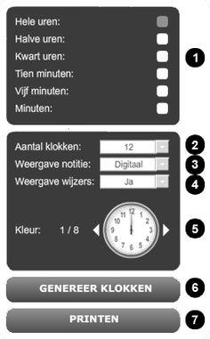 Op deze website kun je zelf werkblaadjes maken over het kloklezen. Je hebt een ruim aanbod om je werkblaadje op te maken. Op de pagina zelf vind je wat uitleg, om aan de slag te gaan klik je bovenaan op de titel 'Klokrekenen.nl'
