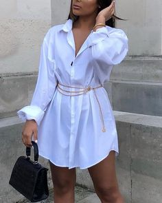 Solid Long Sleeve Buttoned Shirt Dress, Source by tauben dress outfit Office Outfits Women Casual, Girly Outfits, Casual Summer Dresses, Mode Outfits, Classy Outfits, Stylish Outfits, Casual Dresses For Women, White Shirt Outfits, Dress Casual