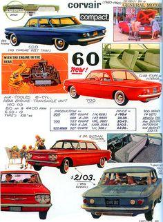 1960 advertisements chevrolet | 1960 Chevrolet Corvair models, in their first model year of production ...