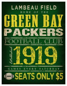 Green Bay Packers Print -  11x14  Lambeau Field Poster---seats, $5.00, times sure have changed.!!