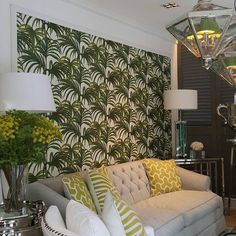 The iconic Art Deco - inspired 'Palmeral' collection features an explosion of 70's palm leaves. Available in interiors collections as a wallpaper. Wall is showing now at EICHHOLTZ by Quattro design Thonglor 13.
