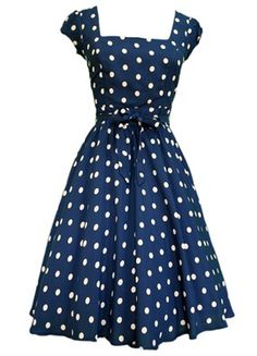 Navy Blue & White Polka Dot Swing Dress.. would love if this wasn't square neckline