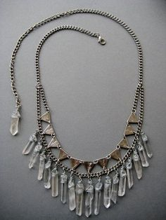 The Empress Raw Quartz Crystal and Triangle Bib by AuroraShadow - very lovely but $$$