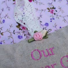 Embroidered linen bag finished with a satin rose and crotchet ribbon Nottingham Lace, 3d Rose, French Lavender, Lavender Sachets, Satin Roses, Linen Bag, Wedding Keepsakes, Wedding Anniversary Gifts, Floral Fabric