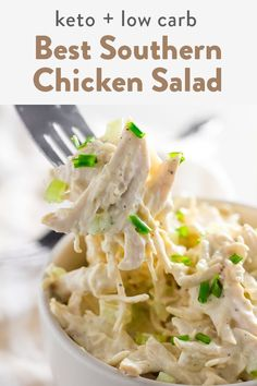 This is a keto chicken salad made with the best type of mayo using avocado oil. This is an easy keto and low carb recipe that's a simple dinner recipe or great for lunch ideas. It's southern style so no fear it features pickles and celery! Chicken Egg Salad, Best Chicken Salad Recipe, Low Carb Chicken Salad, Chicken Recipes, Healthy Salad Recipes, Lunch Recipes, Easy Dinner Recipes, Cooking Recipes, Keto Recipes