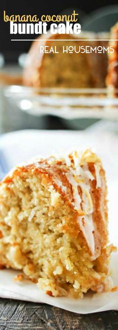 This delicious BANANA COCONUT BUNDT CAKE is a light banana cake packed with coconut & drizzled with a sweet sugar glaze. Perfect for brunch or dessert!