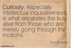 Curiosity, especially intellectual inquisitiveness, is what separates the truly alive from those who are merely going through the motions.   Tom Robbins -  Villa Incognito