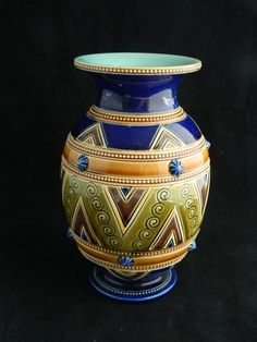 Antique 19th century French Sarreguemines majolica pottery vase #Vases