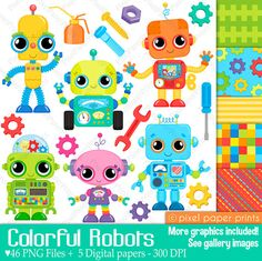 Hey, I found this really awesome Etsy listing at https://www.etsy.com/listing/269221825/colorful-robots-clip-art-and-digital