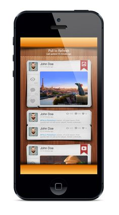 Social App UI Design -- I like the mixed media formats in the news feed, not the skeumorphic wood