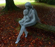 "Derek Kinzett Wire Sculptures. ""Mother & Child"" 
