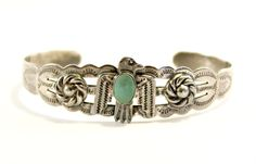 Native American Coin Silver Products Cuff Bracelet Thunderbird Turquoise Stone