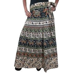 Mogul Women's Blue Wrap Skirt Traditional Style Cotton Printed Maxi... ($10) ❤ liked on Polyvore featuring skirts, floor length skirt, cotton maxi skirt, long cotton skirts, long blue maxi skirt and long maxi skirts