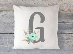 Pillow Cover 16 x 16  Mint Grey  and Gold Floral by GRACEandCRUZ