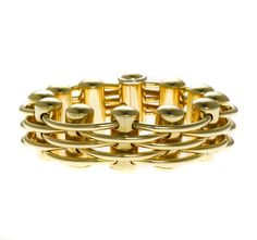 An eighteen karat gold flexible bangle bracelet, Sauro