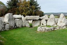 The Creevykeel Court Cairn was excavated in 1935. Dating from the Neolithic Period, 4000-2500 BC, this site is one of the best examples of a Court Cairn in Ireland. It an entrance passage, an oval court and a double chamber gallery. The Cairn is wedge shaped and the court (where rituals were performed) is about 15 meters in length. It was very interesting to see a cairn opened up, apparently a lot of this cairn has disappeared over time as farmers used the stones in house and fence building.