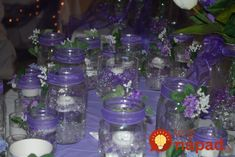 mason jars filled with water beads, floating candles and water lights centerpieces Mason Jars, Floating Candle Centerpieces, Renewal Wedding, French Beaded Flowers, Water Beads, Wedding Table, Wedding Ideas, Jam Jar, Water Lighting