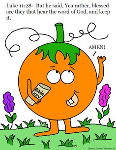 Church House Collection Blog: Pumpkin Holding His Bible Coloring Page- Luke 11:28 Blessed are they that hear the Word of God and keep it- Sunday School Coloring Pages For Fall