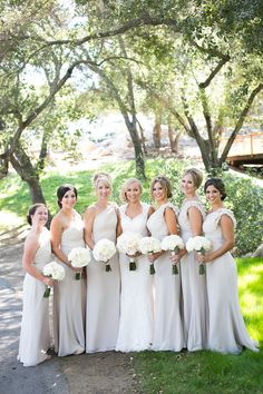 Bridesmaids in dove grey bridesmaid dresses   Kaysha Weiner Photographer   Bridal Musings Wedding Blog 22