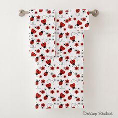 LADYBUG TOWEL SET Girls Bathroom Floral Room Decor