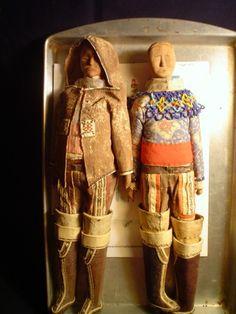 2 Rare Vintage Inuit Eskimo Dolls Greenland Canada Carved Wood