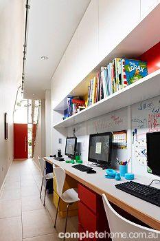 REAL HOME: Mondrian house – Grand Designs Australia - Complete Home Kids study area Study Nook, Kids Study, Grand Designs Australia, Computer Nook, Study Areas, Study Office, Mondrian, Colour Schemes, Kids Room