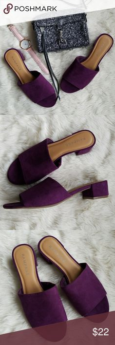 """Purple Suede Slides Stay on trend with these ultra violet faux suede slides from Rampage.  New without box.  Size 8.5 with a slight heel of 1.5"""". Rampage Shoes Heels"""
