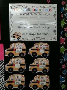 """The Word on the bus"" sight word song & printables Change to letters for school Teaching Sight Words, Sight Word Practice, Sight Word Activities, Phonics Activities, Reading Activities, Classroom Activities, Kindergarten Language Arts, Kindergarten Literacy, Montessori Elementary"