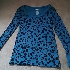 Black and blue heart long sleeve shirt Blue w/ black hearts, worn only once, great condition Op Tops Tees - Long Sleeve