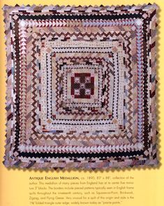 English Medallion Quilt circa 1890 from my friend Cindy V Hamilton's collection and book, Medallion Quilts.
