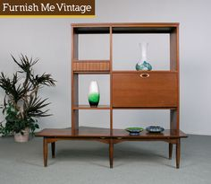 Mid Century Modern Room Divider Hutch Bench. cool.
