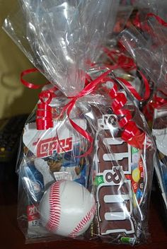 The Contini Clan: Baseball birthday Big Leauge Chew, baseball cards, baseball tattoos, bag of sunflower seeds (instead of M & M's)