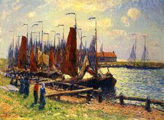 Moret, Henri ( French, 1856-1900) - Port of Volendam, Holland - 1909 | Flickr - Photo Sharing!