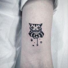 awesome Geometric Tattoo - Cheshire Cat tattoo by Greem. southkorean blackwork edged geometric Greem cheshi...