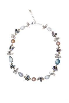 Handmade Ne Multicolor Freshwater Pearl Crystal Beads Necklace At Saintchristine.com Grey