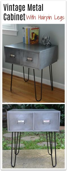 Got an old vintage metal cabinet? Then strip it, polish it smooth with 800-grit sandpaper, followed by 0000 Very Fine steel wool, add hairpin legs, and VOILA! You've got industrial furniture for under $100! See the full tutorial on the blog. | Thrift Diving