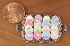 Dollhouse Miniature 16 Easter Cookies on Metal Tray by miniholiday