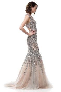 Bling it on Silver Embellished mermaid tulle Evening Gown Prom Dress – Frugal Mughal