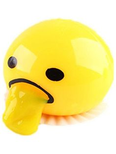 ELECSUM Cute Relief Toys Round Vomiting & Sucking Lazy Egg Yolk Vent Stress Tricky Game Yellow