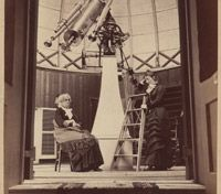 "Maria Mitchell, the first professional woman astronomer in the U.S. Born to a Quaker family on Nantucket, she grew up stargazing with her father's telescope. On October 1, 1847, while working as a librarian she discovered a new comet, which became known as ""Miss Mitchell's Comet. In 1865, she became the first astronomy professor at Vassar College, where she ran the school's observatory and woke students up in the middle of the night to study Saturn and Jupiter."